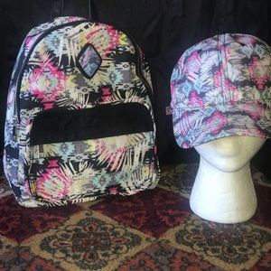 Abstract Print Hat and Backpack Set
